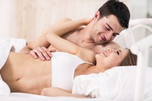 couple in a good mood in bed