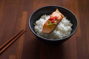 baked salmon steak on rice