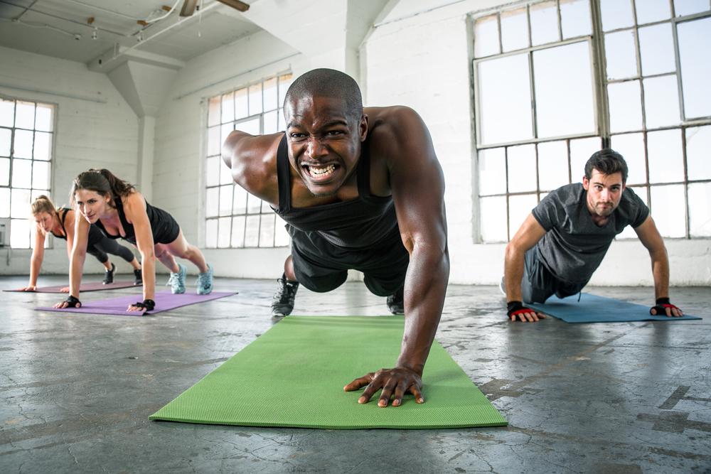 intense push up exercise
